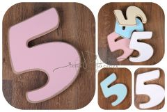 Číslo 5 - růžová oblé hrany