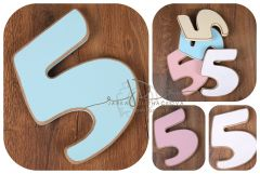 Číslo 5 - modrá oblé hrany