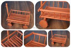 Dřevěný žebřiňák - vozík s ojí - BUKOVÝ světlý -  výprodej!