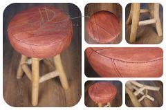 Stoleček - židlička kožená