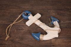 Kotva dřevěná bílo modrá patina