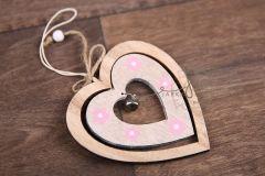 Srdíčko dekorace - závěs růžový