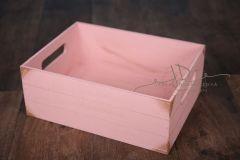 Bedýnka dřevěná s úchyty - růžová patina