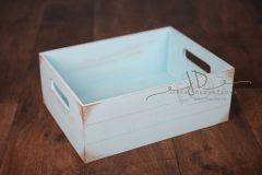 Bedýnka dřevěná s úchyty - modrá patina