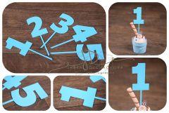 Zápich čísla - sada 1 až 5 - modrá