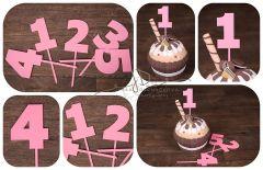 Zápich čísla - sada 1 až 5 - růžová