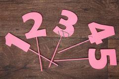 Zápich čísla - sada 1 až 5 - růžová - typ2