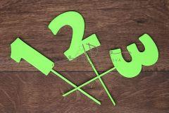 Zápich čísla - sada 1 až 3 - zelená