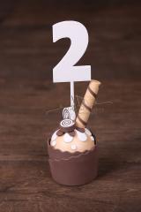 Muffin mini čokoládový 15cm + zápich 2