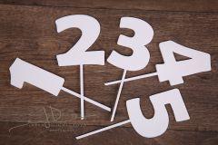 Zápich čísla - sada 1 až 5 - bílá - typ2