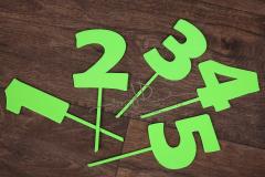 Zápich čísla - sada 1 až 5 - zelená - typ2