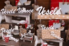Nápis Veselé Vánoce bílý MAXI - typ 1