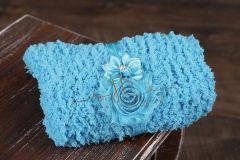 Podložka pletená + čelenka modrá