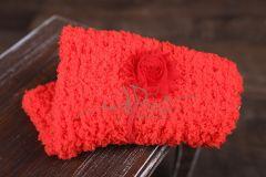 Podložka pletená + čelenka červená
