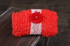 Podložka pletená + čelenka červená s krajkou