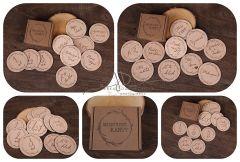 Sada dřevěných kartiček - koleček s nápisy - 10ks koleček (20nápisů)