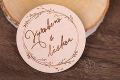 Tabulka - kolečko s nápisem - Vyrobeno s láskou