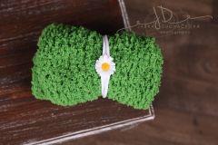 Podložka pletená zelená + čelenka