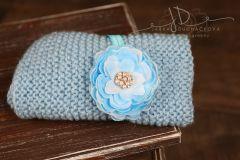Podložka pletená modrá 45x35cm + čelenka