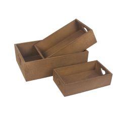 Bedýnka dřevěná sada 3ks hnědá