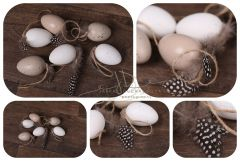 Vajíčka dekorační 6ks přírodní s peřím
