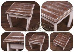 Stolek / stolička - dortový podnos - ořech patina s bílou
