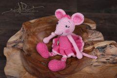 Háčkované zvířátko - myška růžová větší