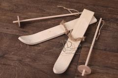 Lyže s hůlkami mini - přírodní