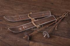 Lyže s hůlkami mini - ořechová patina
