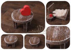 Stoleček kulatý mini - ořech patina