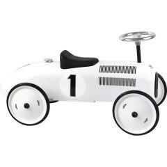 Kovové odrážedlo - Historické závodní auto - bílé