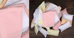 Dečka oboustranná  NEWBORN + 3 polštářky - růžová