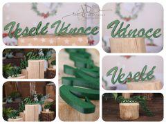 Nápis Veselé Vánoce zelený MAXI - typ 1