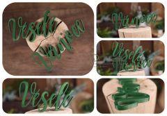 Nápis Veselé Vánoce zelený MAXI - typ 2
