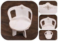 Stolička - židlička kulatá s opěrátkem - bílá patina