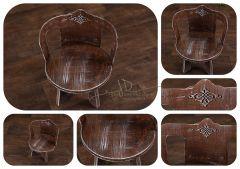 Stolička - židlička kulatá s opěrátkem - ořechová