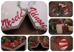 Nápis Veselé Vánoce červený MAXI - typ 1