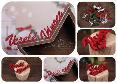Nápis Veselé Vánoce červený