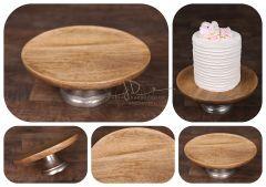 Podnos dortový  dřevěný