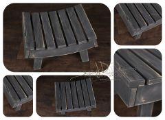 Stolička prohnutá - šedá patina