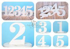 Číslo dřevěné  bílá patina