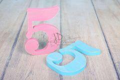 Číslo dřevěné 5 růžová patina
