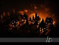 Fotopozadí - vánoční světýlka - vesnička
