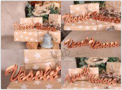 Nápis Veselé Vánoce zlatý - II.jakost - SLEVA